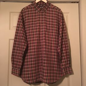 Roundtree and Yorke Brown Plaid Button Down Shirt